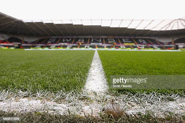 A general view ahead of the Barclays Premier League match between Swansea City and Aston Villa at Liberty Stadium on April 26 2014 in Swansea Wales