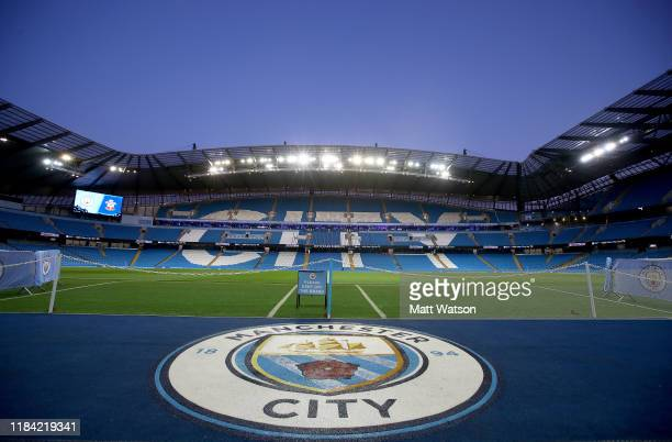 General view ahead of the Carabao Cup Round of 16 match between Manchester City and Southampton FC at the Etihad Stadium on October 29, 2019 in...