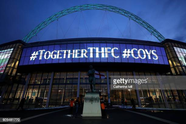 A general view ahead of The Emirates FA Cup Fifth Round Replay match between Tottenham Hotspur and Rochdale on February 28 2018 in London United...