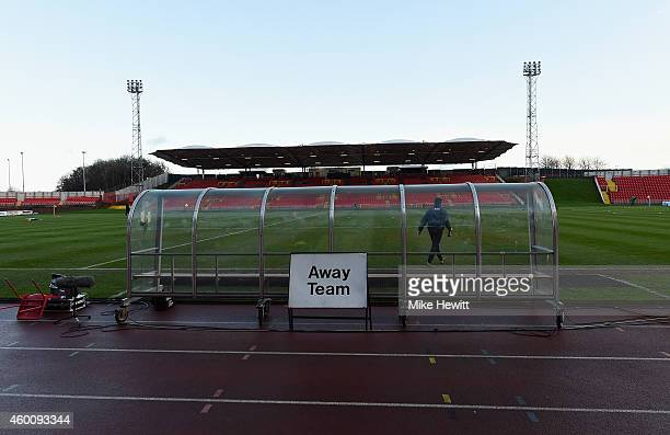 A general view ahead of the FA Cup Second Round tie between Gateshead FC v and Warrington Town at the Gateshead International Stadium on December 7...