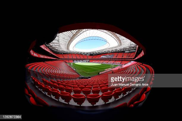 General view ahead of the Liga match between Athletic Club and RCD Mallorca at San Mames Stadium on June 27, 2020 in Bilbao, Spain.