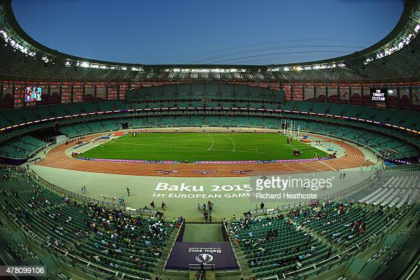 A general view ahead of the medal ceremony for the athletics team medals during day ten of the Baku 2015 European Games at the Olympic Stadium on...