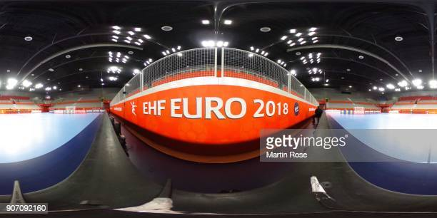 A general view ahead of the Men's Handball European Championship match between Germany and Czech Republic on January 19 2018 in Varazdin Croatia