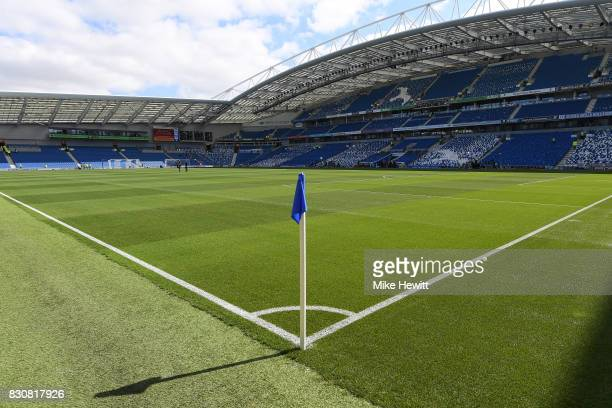 A general view ahead of the Premier League match between Brighton and Hove Albion and Manchester City at Amex Stadium on August 12 2017 in Brighton...