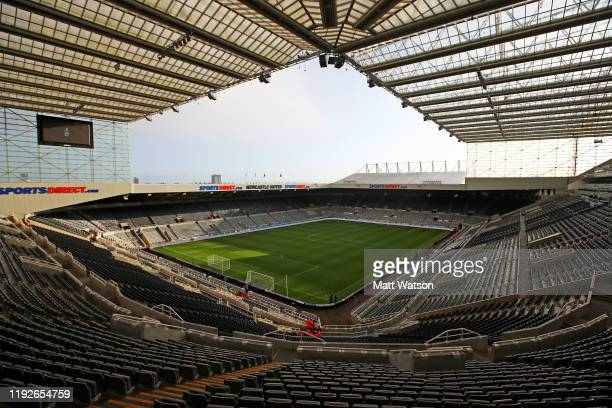 A general view ahead of the Premier League match between Newcastle United and Southampton FC at St James Park on December 08 2019 in Newcastle upon...