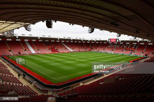 General view ahead of the Premier League match between Southampton and Burnley at St Mary's Stadium on October 23, 2021 in Southampton, England.