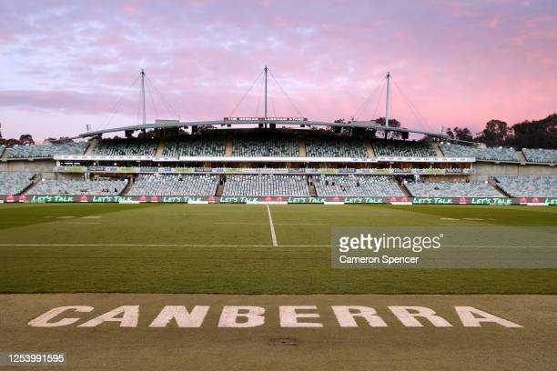 General view ahead of the round eight NRL match between the Canberra Raiders and the St George Illawarra Dragons at GIO Stadium on July 03, 2020 in...