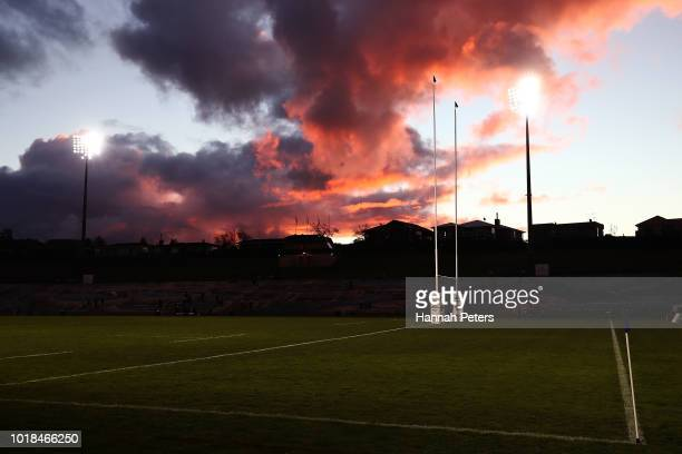 A general view ahead of the round one Mitre 10 Cup match between Bay of Plenty and Taranaki at Rotorua International Stadium on August 18 2018 in...