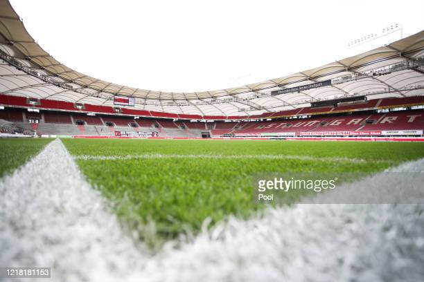 General view ahead of the Second Bundesliga match between VfB Stuttgart and VfL Osnabrück at Mercedes-Benz Arena on June 7, 2020 in Stuttgart,...