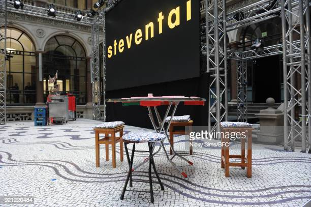 A general view ahead of the steventai presentation during London Fashion Week February 2018 at British Foreign and Commonwealth Office on February 18...