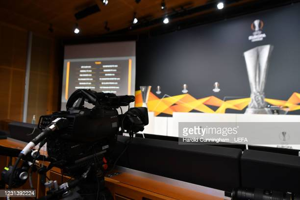 General view ahead of the UEFA Europa League 2020/21 Round of 16 draw at the UEFA Headquarters, the House of European Football, on February 26 in...
