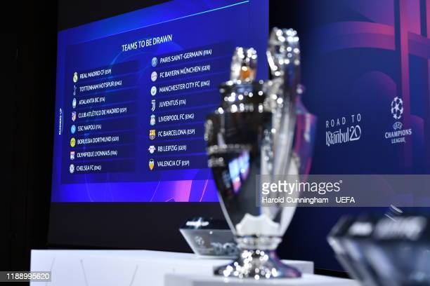 General view ahead the UEFA Champions League 2019/20 Round of 16 Draw at the UEFA headquarters, The House of European Football on December 16 2019 in...