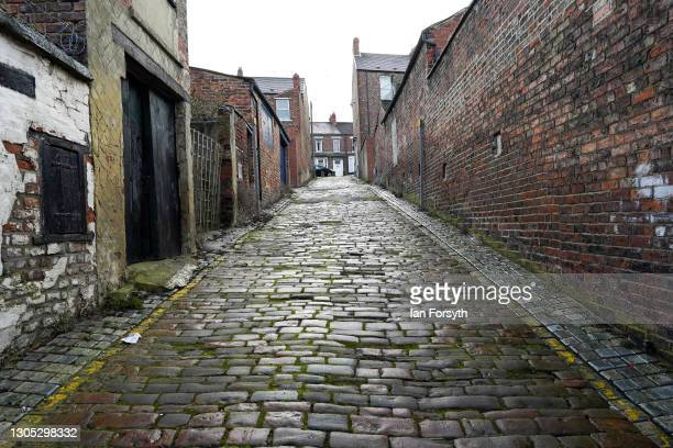 General view along a cobbled back street in Darlington after it was announced by the Chancellor of the Exchequer Rishi Sunak that the town will...