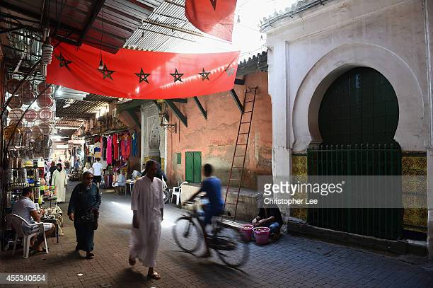 General view along a market stall on September 12 2014 in Marrakech Morocco
