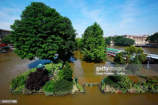 A general view along the now gradually receding rainswollen River Seine in Paris after the waters reached the highest levels in three decades on June...