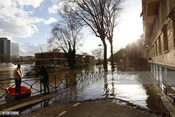 A general view along the rainswollen River Seine as water levels increased on January 26 2018 in Paris France Paris is on flood alert as water levels...