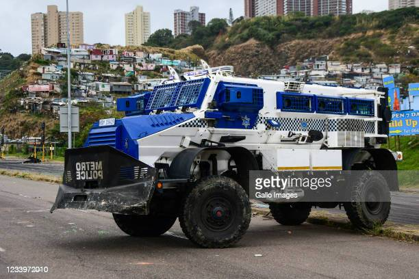 General view along Umgeni Road on July 09, 2021 in Durban, South Africa. It is reported a number of roads in Durban central have been blocked by...