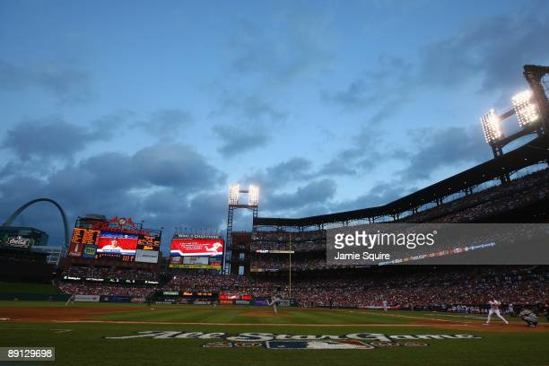 General view American League AllStar Roy Halladay of the Toronto Blue Jays pitches to National League AllStar Chase Utley of the Philadelphia...