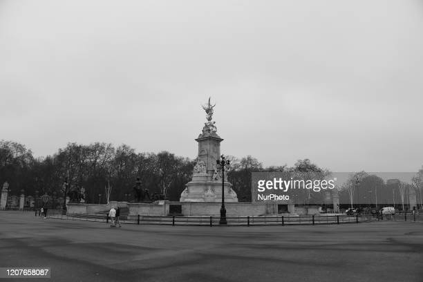 General view an empty Mall and Buckingham Palace, London on March 19, 2020. Transport for London announced the closure of up to 40 stations as...