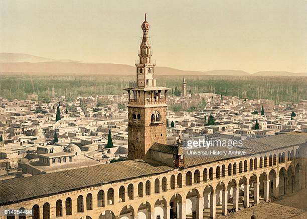 General View and Minaret of the Bride Umayyad Mosque Damascus Syria Photchrom Print circa 1900