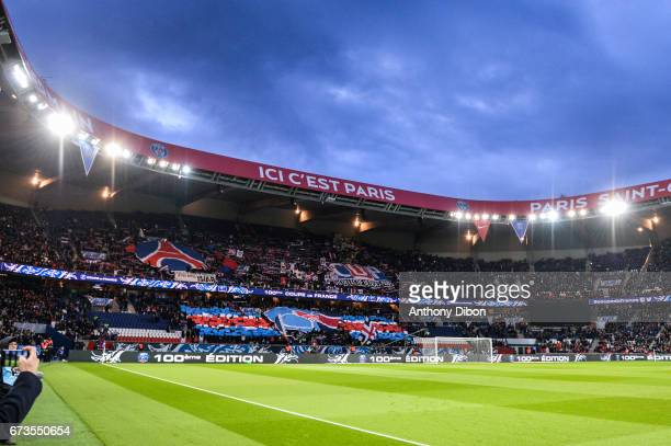 General view and tifo of PSG during the Semi final of the French Cup match between Paris SaintGermain and As Monaco at Parc des Princes on April 26...