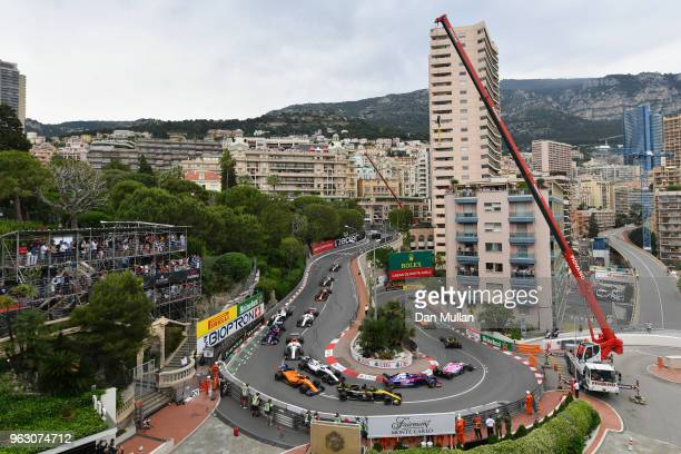 A general view around the Grand Hotel Hairpin on the first lap showing Pierre Gasly of France and Scuderia Toro Rosso driving the Scuderia Toro Rosso...