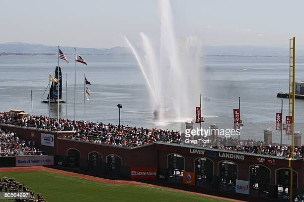 General view as a boat shoots off its water canons before the opening day game between the San Diego Padres and San Francisco Giants on April 7, 2008...