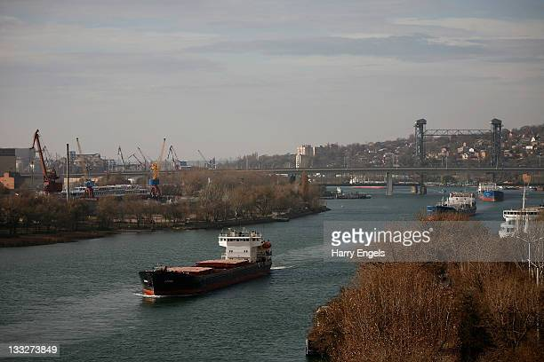 A general view as a cargo ship makes its way down the river Don on November 18 2011 in RostovnaDonu Russia RostovnaDonu is one of thirteen cities...
