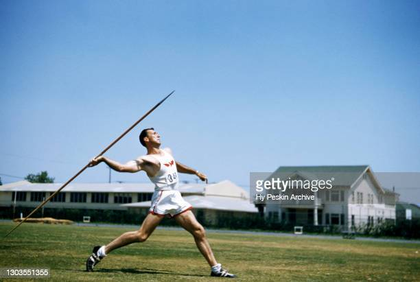 General view as a collegiate competitor throws his Javelin spear during the IC4A Track and Field Championships circa April, 1953 in Randall's Island,...