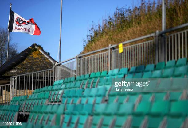 General view as a Cornish Pirates flag flies inside the stadium prior to kick off during the Greene King IPA Championship match between Cornish...