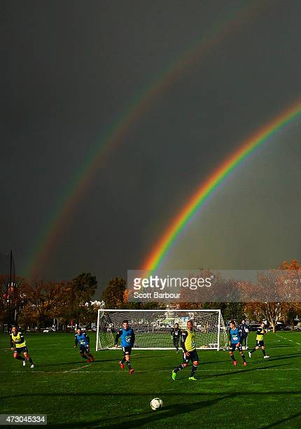 General view as a double rainbow forms overhead during a Melbourne Victory A-League training session at Gosch's Paddock on May 12, 2015 in Melbourne,...