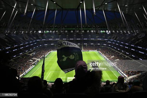 A general view as a fan shows their support during the Barclays FA Women's Super League match between Tottenham Hotspur and Arsenal at Tottenham...