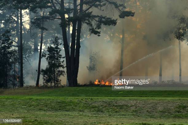 General view as a fire nears the 10th hole during day three of The Rose Ladies Series on The West Course in the first ever ladies professional event...