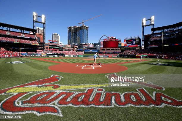 General view as a groundskeeper readies the field prior to game four of the National League Division Series between the Atlanta Braves and the St....
