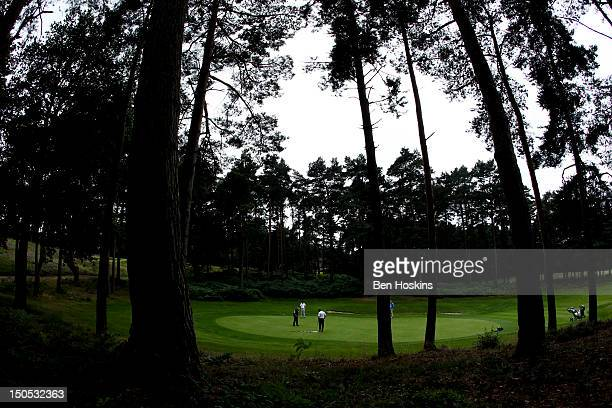 A general view as a group putt out during the Regional Final of the Virgin Atlantic PGA National ProAm Championship at Camberley Heath Golf Club on...