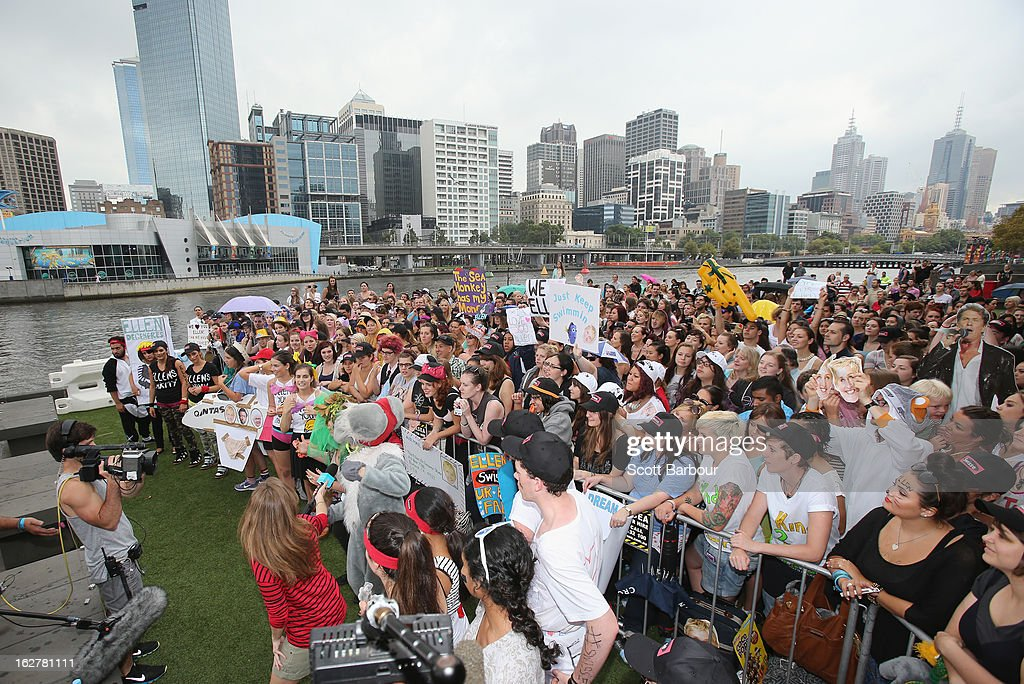 A general view as a live cross is filmed as part of the Ellen television show on February 27, 2013 in Melbourne, Australia. Ellen Degeneres tweeted for fans to gather outside Crown today to 'win something really big', as the American television star prepares for to tape her show in Australia in March.
