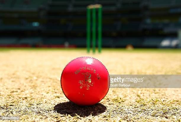 A general view as a pink Kookaburra cricket ball is seen on the pitch during day one of the Sheffield Shield match between Victoria and Queensland at...