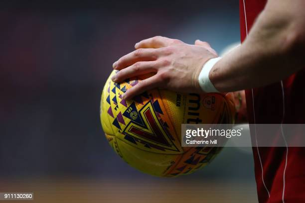 General view as a player holds a mitre EFL ball during the Sky Bet Championship match between Bristol City and Queens Park Rangers at Ashton Gate on...