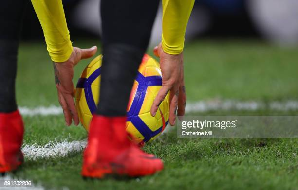 General view as a player places the ball on the corner during the Premier League match between Crystal Palace and Watford at Selhurst Park on...