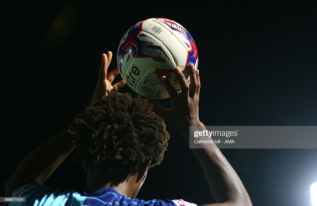General view as a player prepares to take a throw in during the EFL Cup match between Wycombe Wanderers and Bristol City at Adams Park on August 8, 2016 in High Wycombe, England.