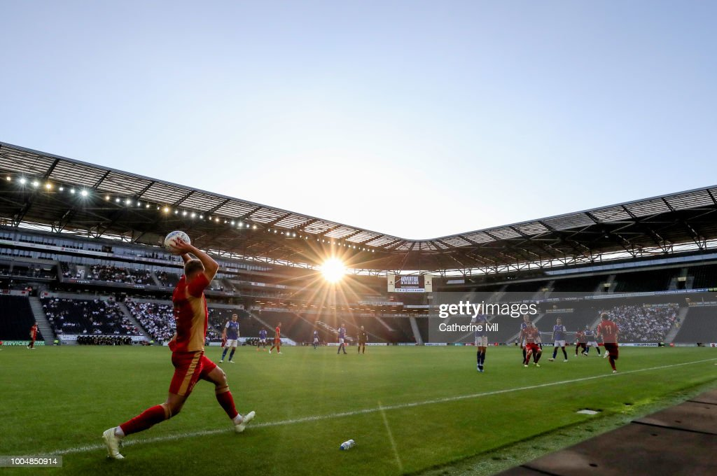 General view as a player takes a throw in during the Pre Season Friendly between Milton Keynes Dons and Ipswich Town at StadiumMK on July 24, 2018 in Milton Keynes, England.