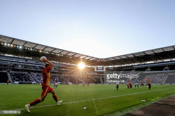 General view as a player takes a throw in during the Pre Season Friendly between Milton Keynes Dons and Ipswich Town at StadiumMK on July 24, 2018 in...