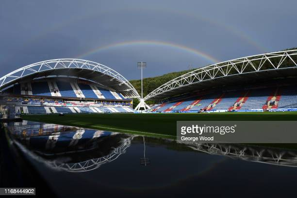 General view as a rainbow appears behind the stadium prior to the Sky Bet Championship match between Huddersfield Town and Fulham at John Smith's...