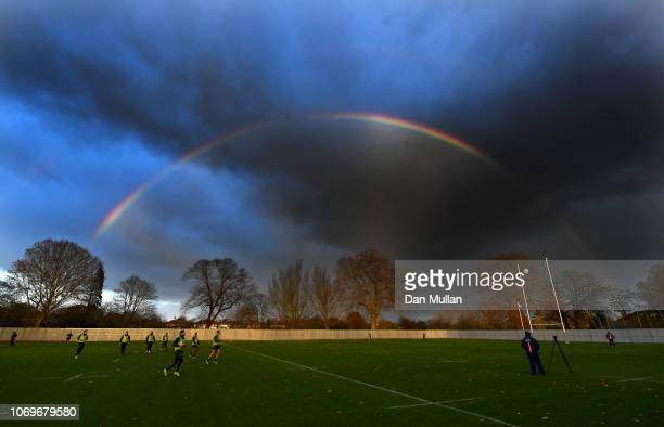 General view as a rainbow appears during a training session at the Lensbury on November 19, 2018 in London, England.