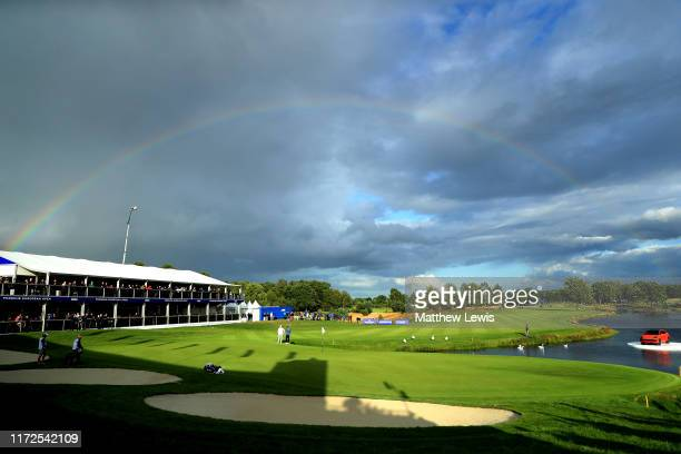 A general view as a rainbow appears over the course during Day one of the Porsche European Open at Green Eagle Golf Courses Porsche Nord Course on...