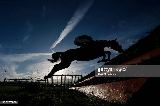 A general view as a runner clears a fence at Ludlow racecourse on January 10 2018 in Ludlow England