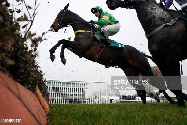 General view as a runner clears a flight of hurdles at Warwick Racecourse on December 31, 2019 in Warwick, England.