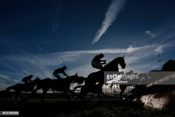 A general view as a runner stands on its hind legs on the take off side of a fence at Ludlow racecourse on January 10 2018 in Ludlow England