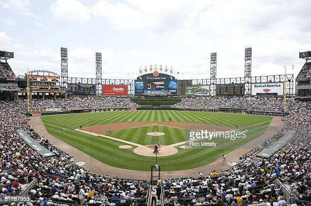 General view as a sellout crowd of 39,132 attend the game between the Chicago Cubs and the Chicago White Sox at U.S. Cellular Field in Chicago,...