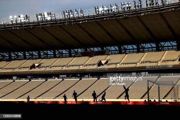 General view as a silhouetted Paul Bernardoni of France makes a save during the Men's First Round Group A match between Mexico and France during the...